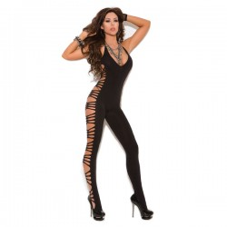 Elegant Moments Vivace Halter Top Bodystocking with Cutout Sides